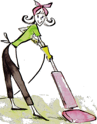 Maid illustration clip art. Vacuuming clipart desk png black and white download