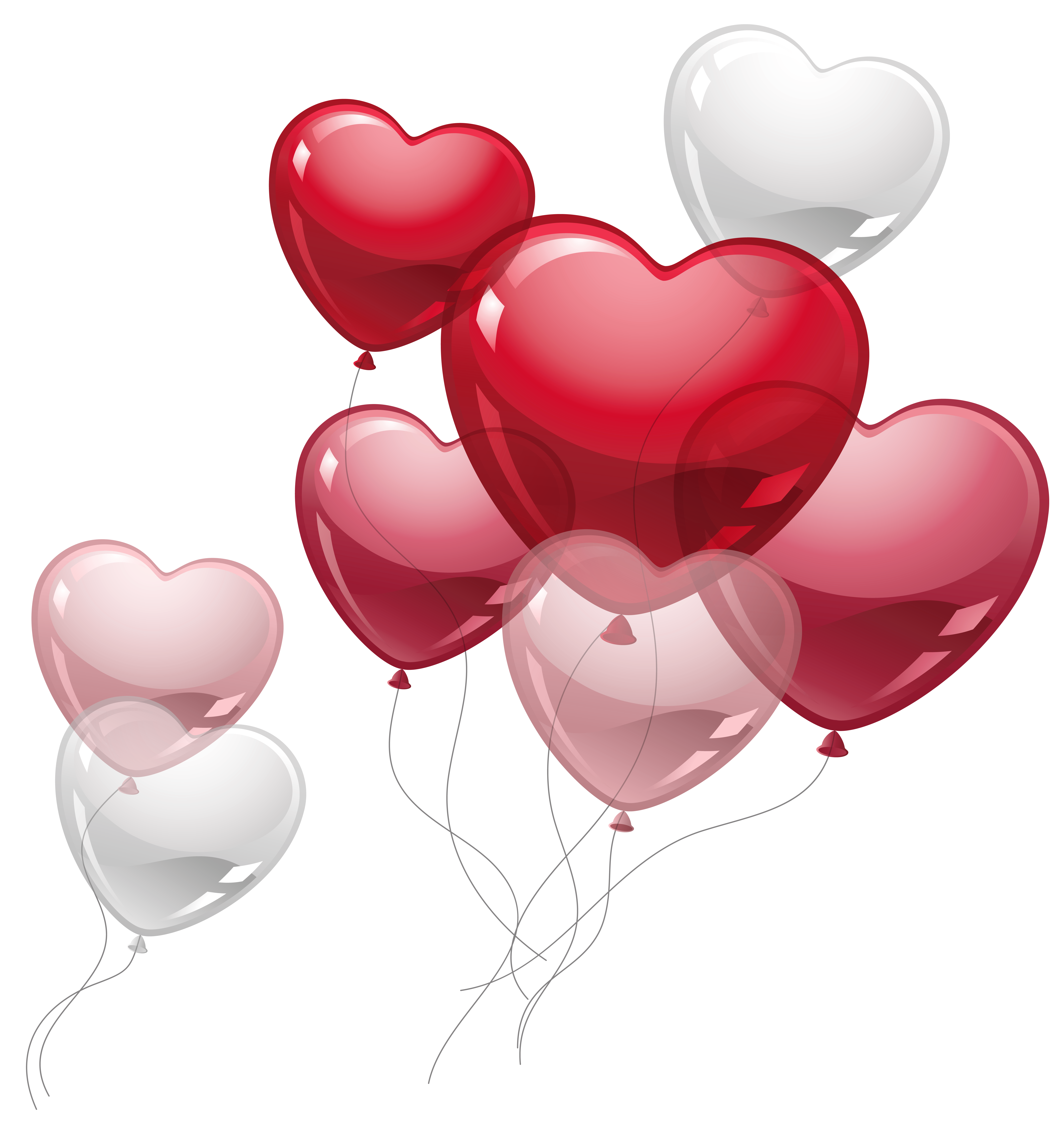 Cute hearts png. Heart balloons clipart picture