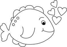Valentine clipart fish. Black and white little