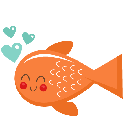 Valentine clipart fish. Svg scrapbook cut file