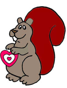 Valentine clipart squirrel. S day riddles coloring