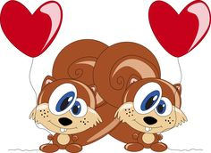 Valentine clipart squirrel. Pencil and in color