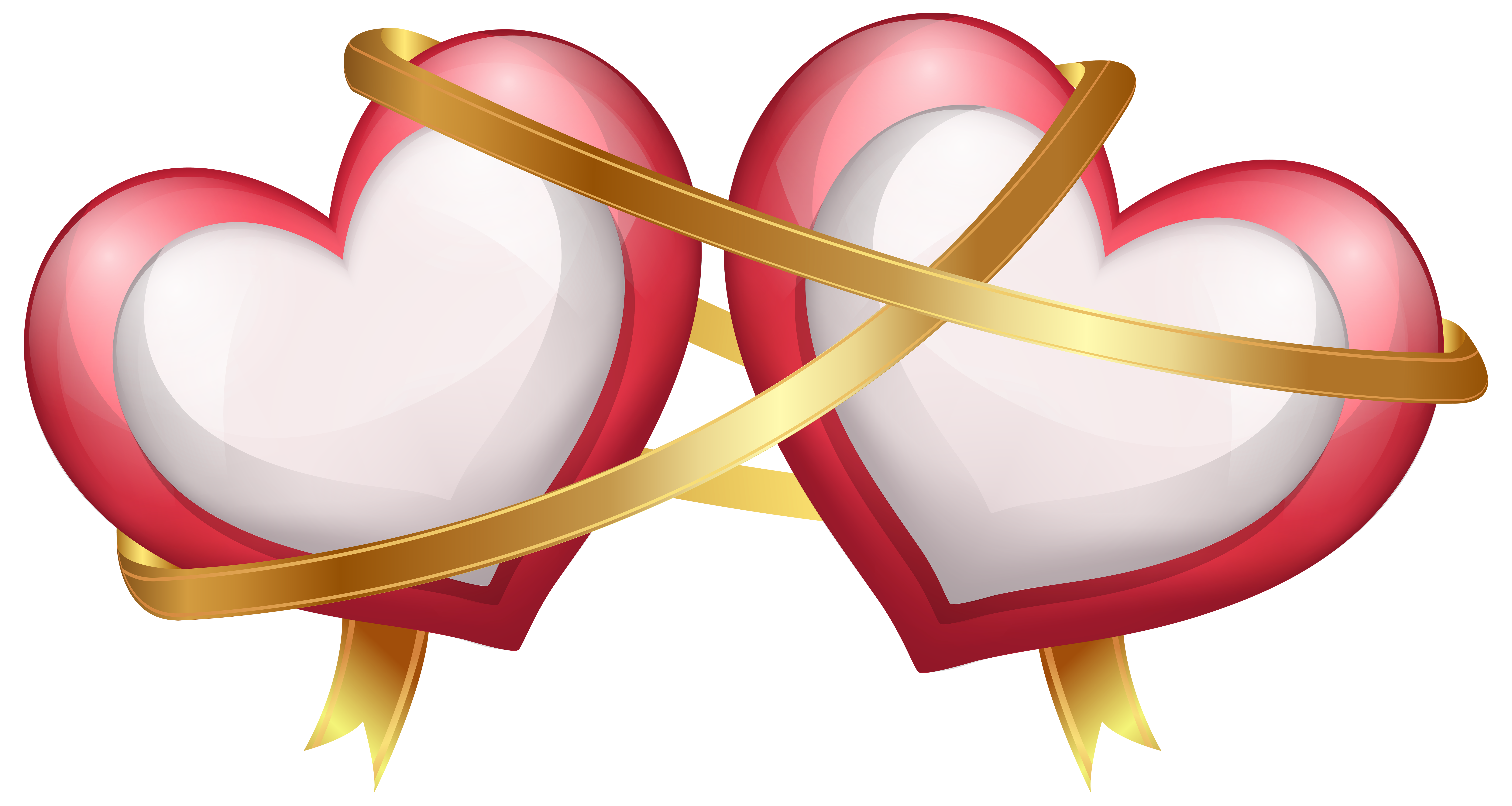 Valentine ribbon png. Two hearts with transparent