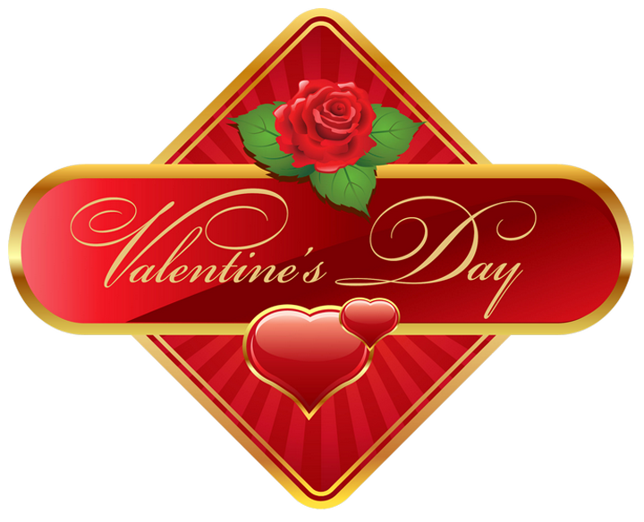Valentine rose png. Valentines day label with
