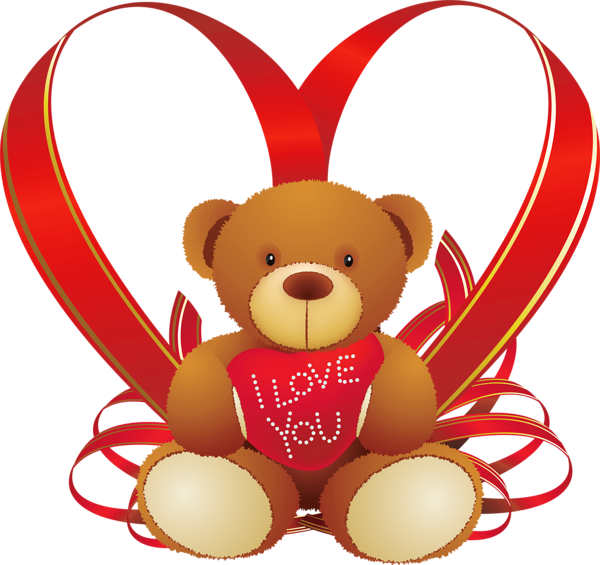 Valentine teddy bear png. Red heart with clipart