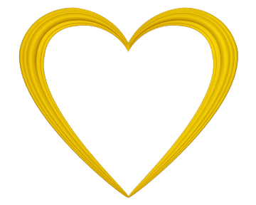 Yellow heart png. Love embossed border transparent