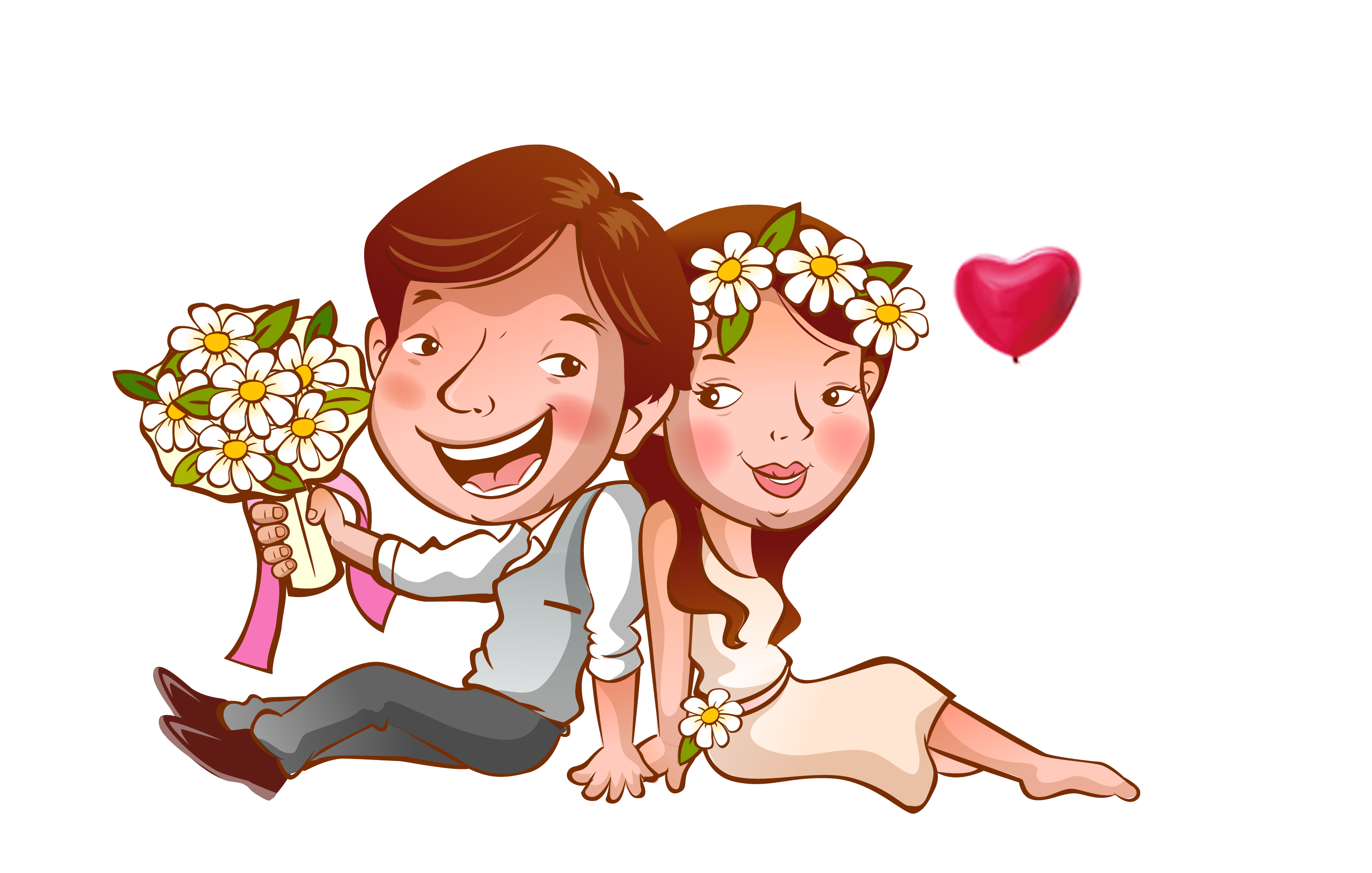 Valentines day couple png. Wedding invitation template cartoon