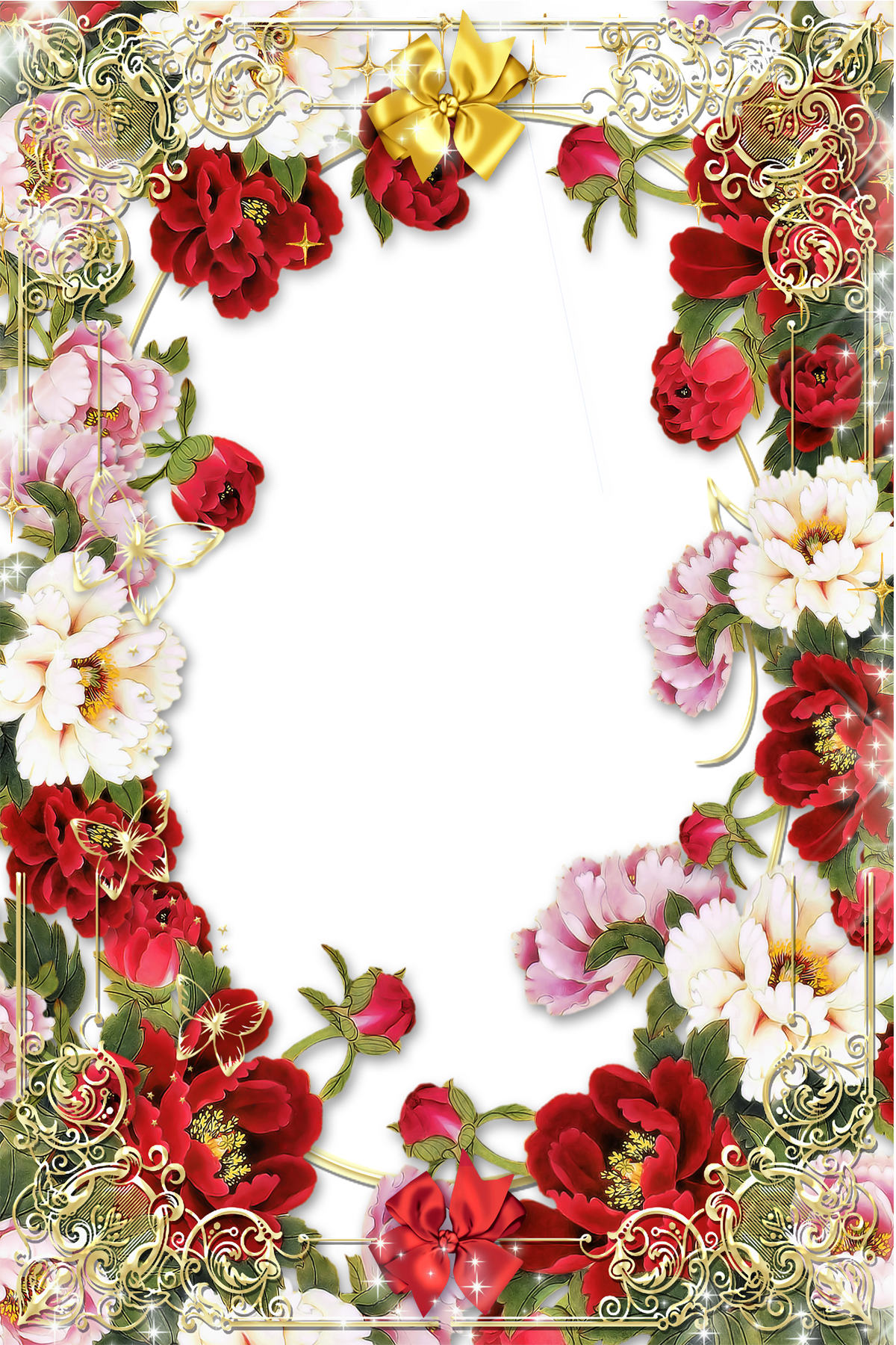 Valentines flower angels frame png. Flowers picture with golden