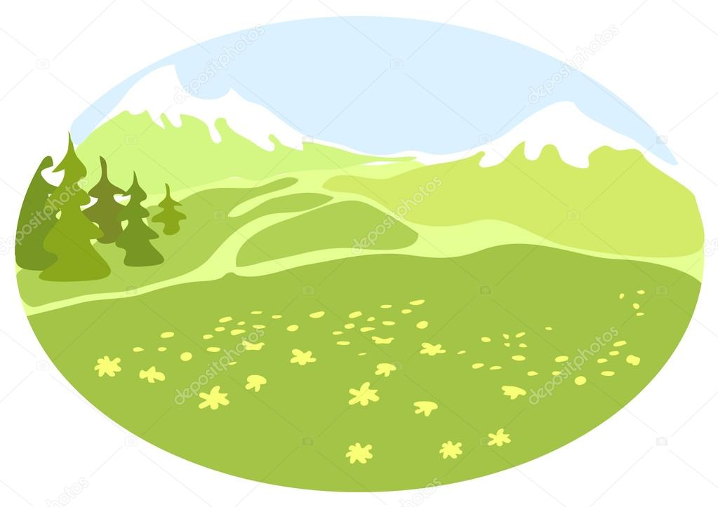 Valley clipart mountain valley. Meadow in a stock