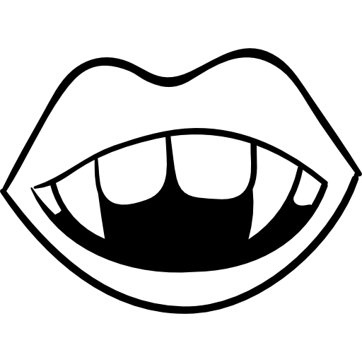 Black and white lips png. Fang image vector clipart