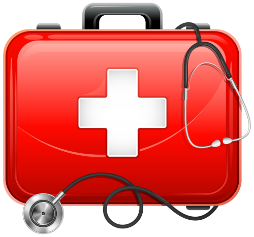 Medical clip doctor kit. Bag and stethoscope png