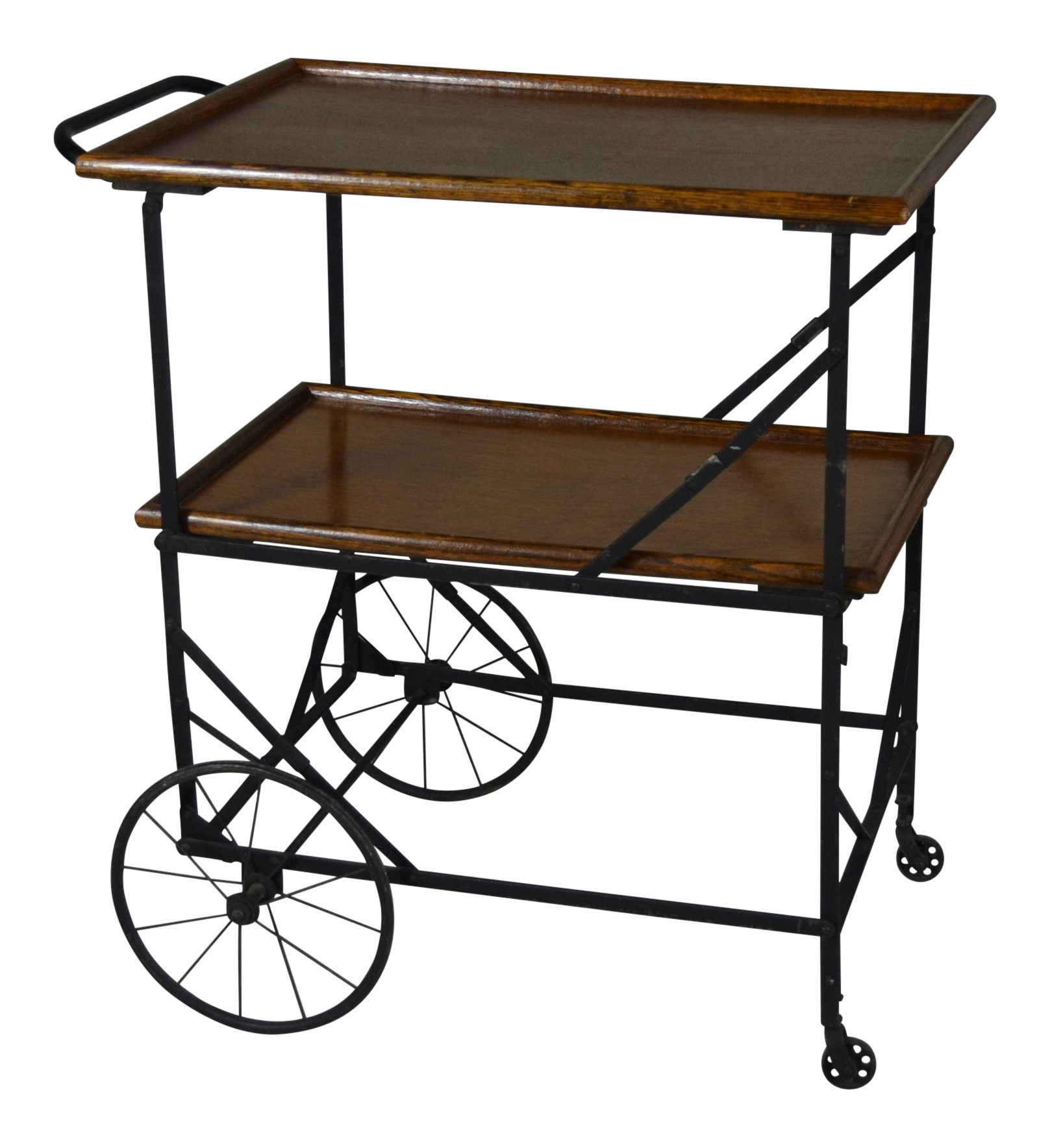 Vanity drawing kitchen trolley. Antique industrial black iron