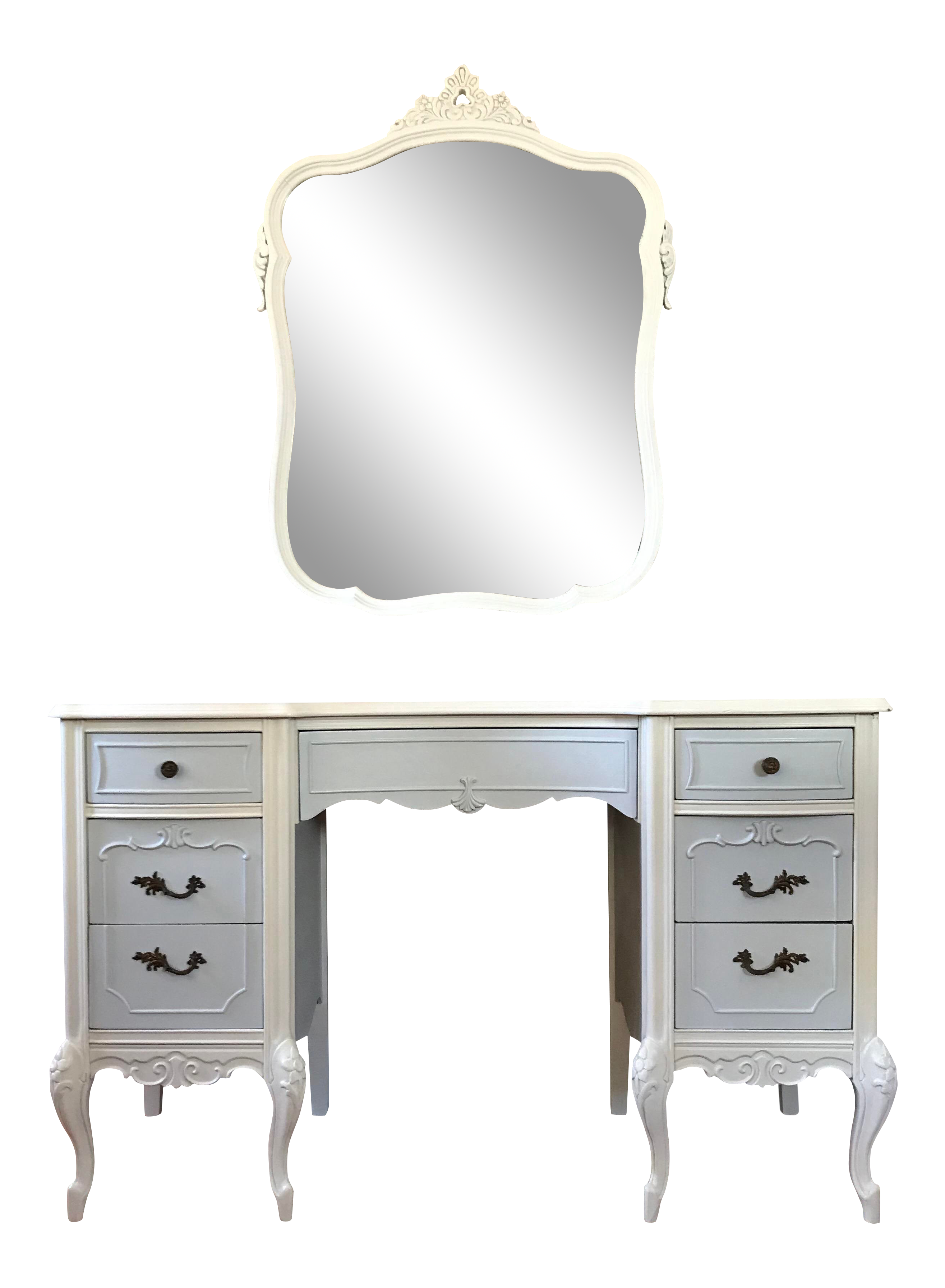 Vanity drawing makeup desk. Antique french provincial two