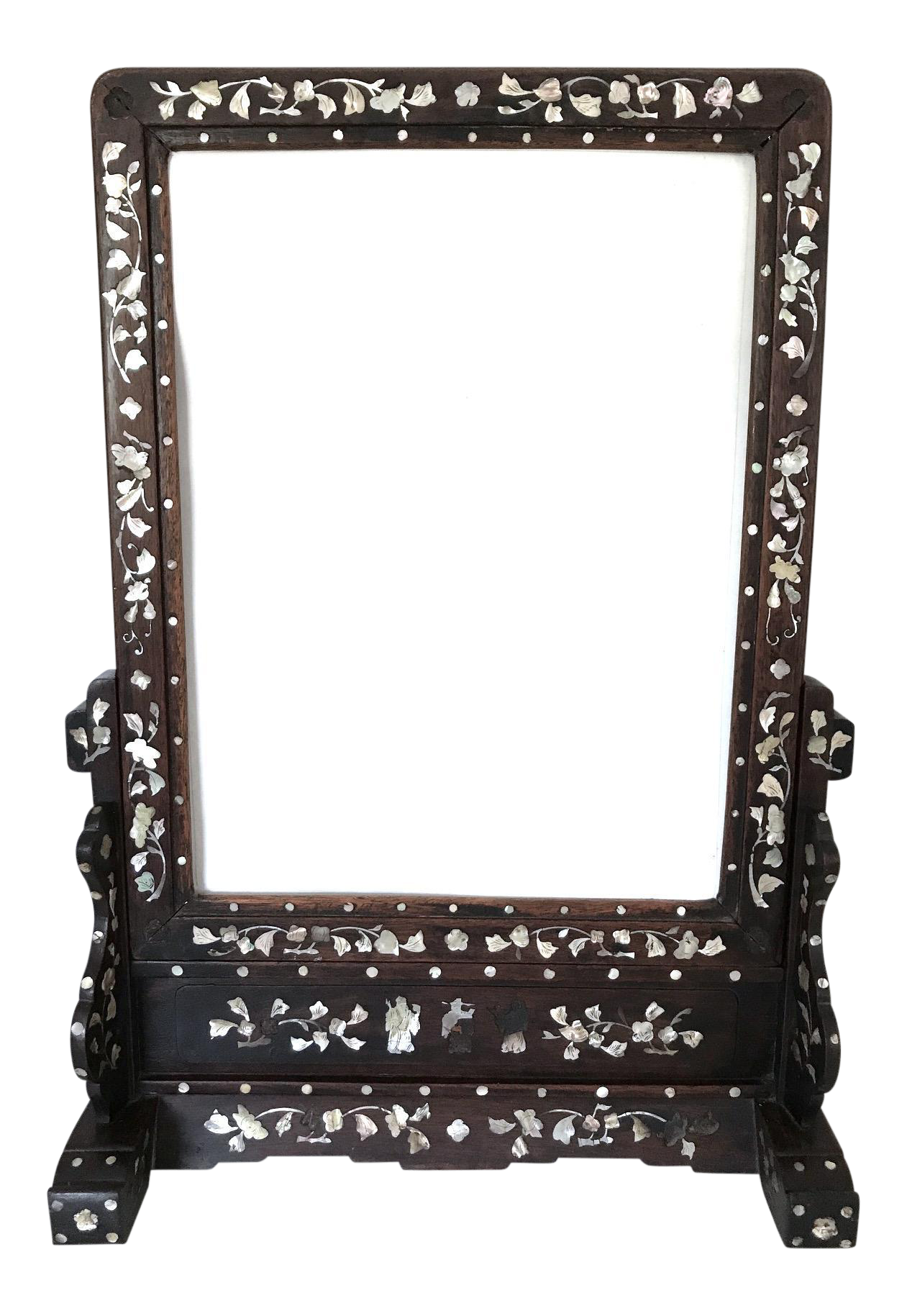 Vanity drawing makeup table. Antique inlaid chinese rosewood