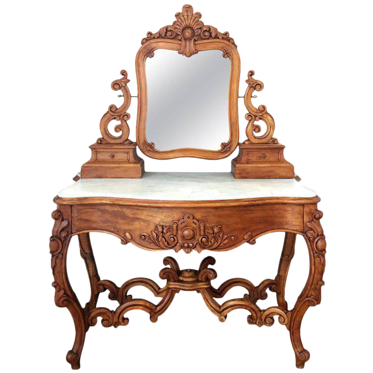 Vanity drawing dressing table. Carved victorian mahogany or