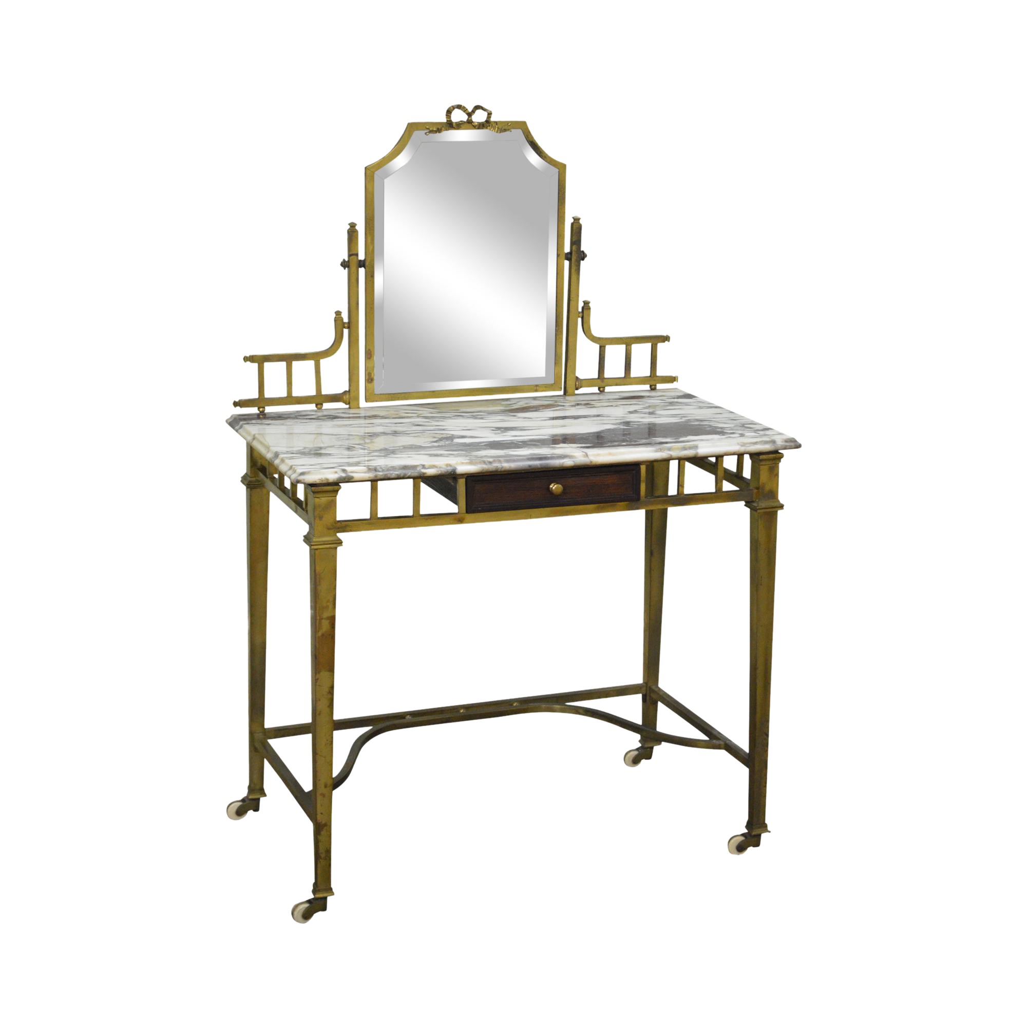 Vanity drawing makeup table. Antique brass marble top