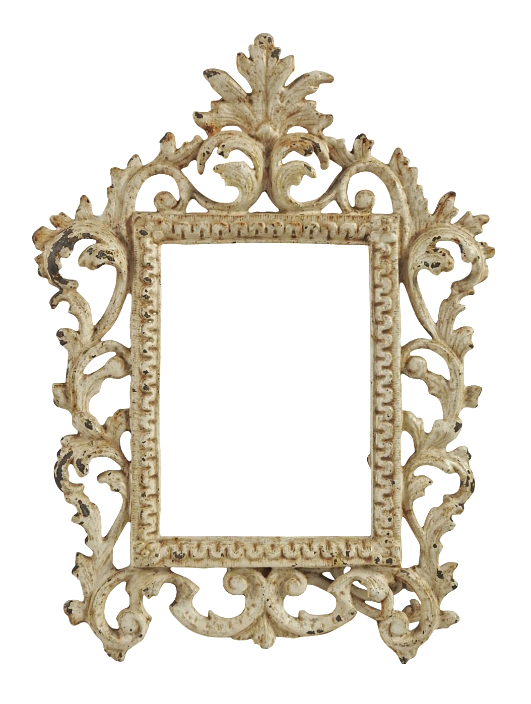 Vanity drawing shabby chic. Vintage iron picture frame