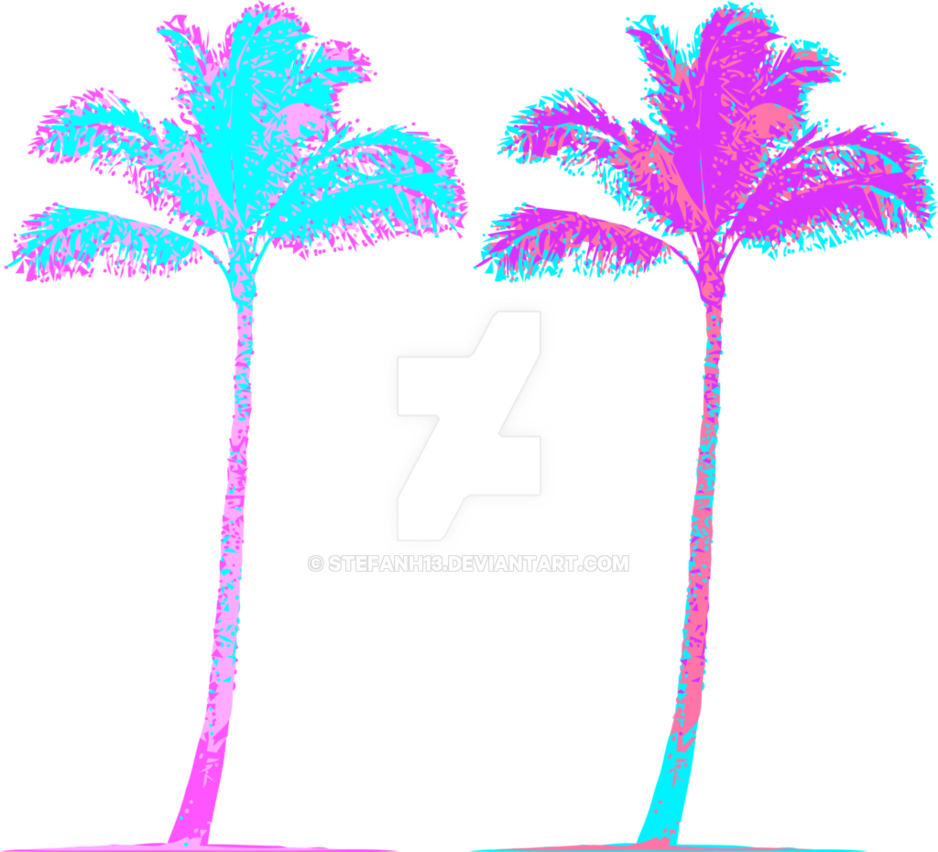 Vaporwave aesthetic png. Palm trees by stefanh