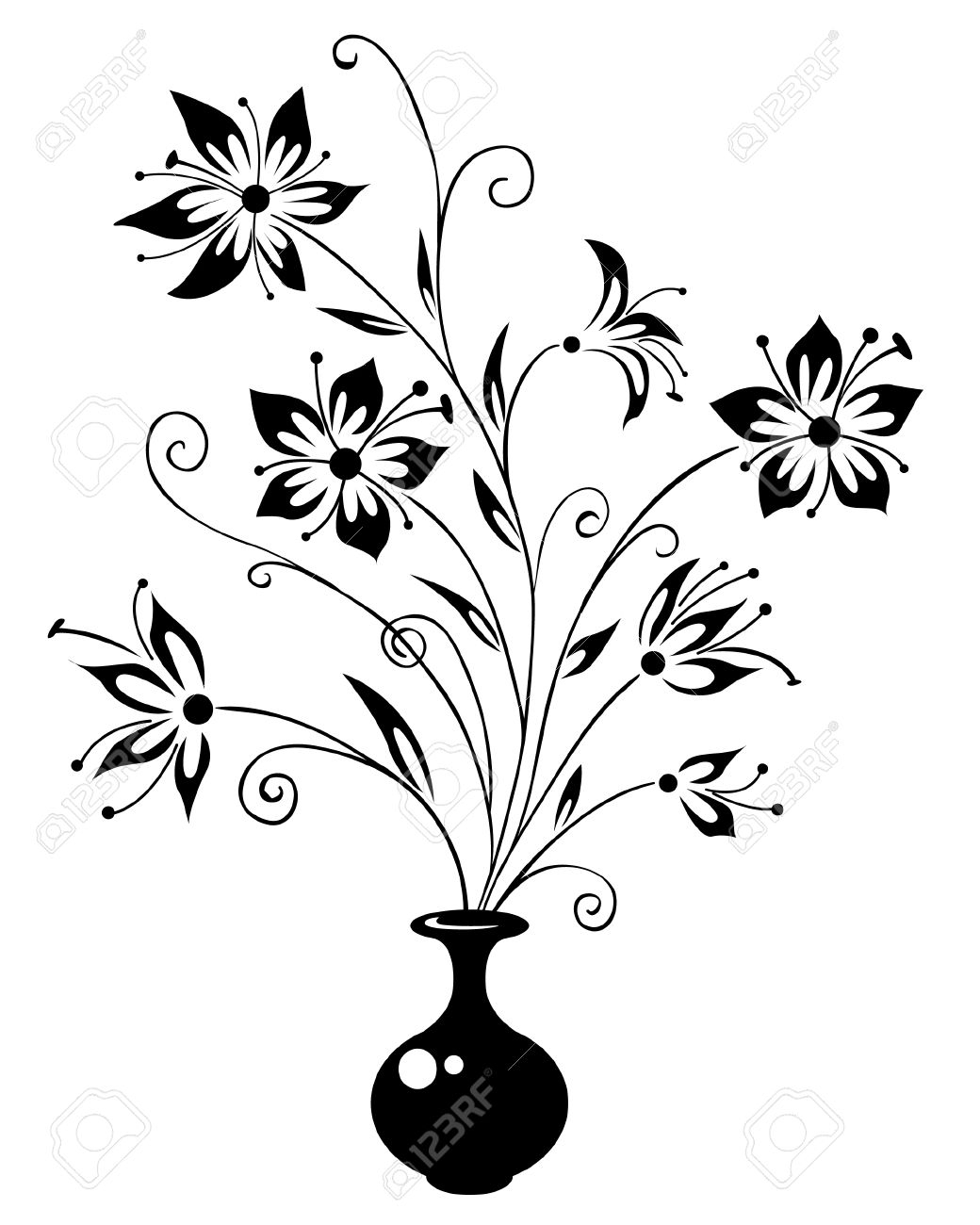 Vase clipart drawn flower. Pencil drawing glass with