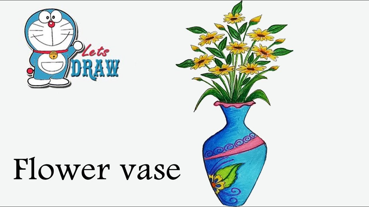 Vase clipart drawn flower. How to draw step
