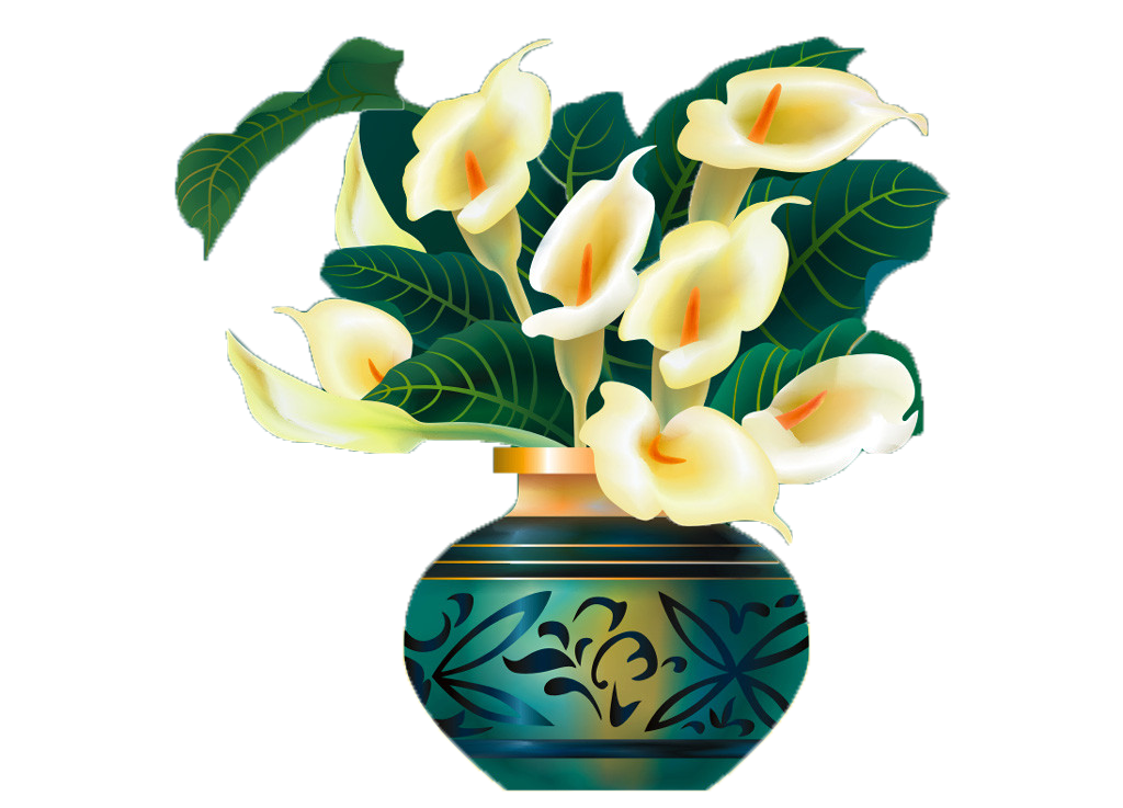 Vase of flowers png. Arum lily cut illustration