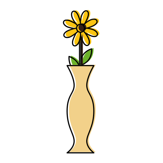 Vase vector decorative. With flower icons by
