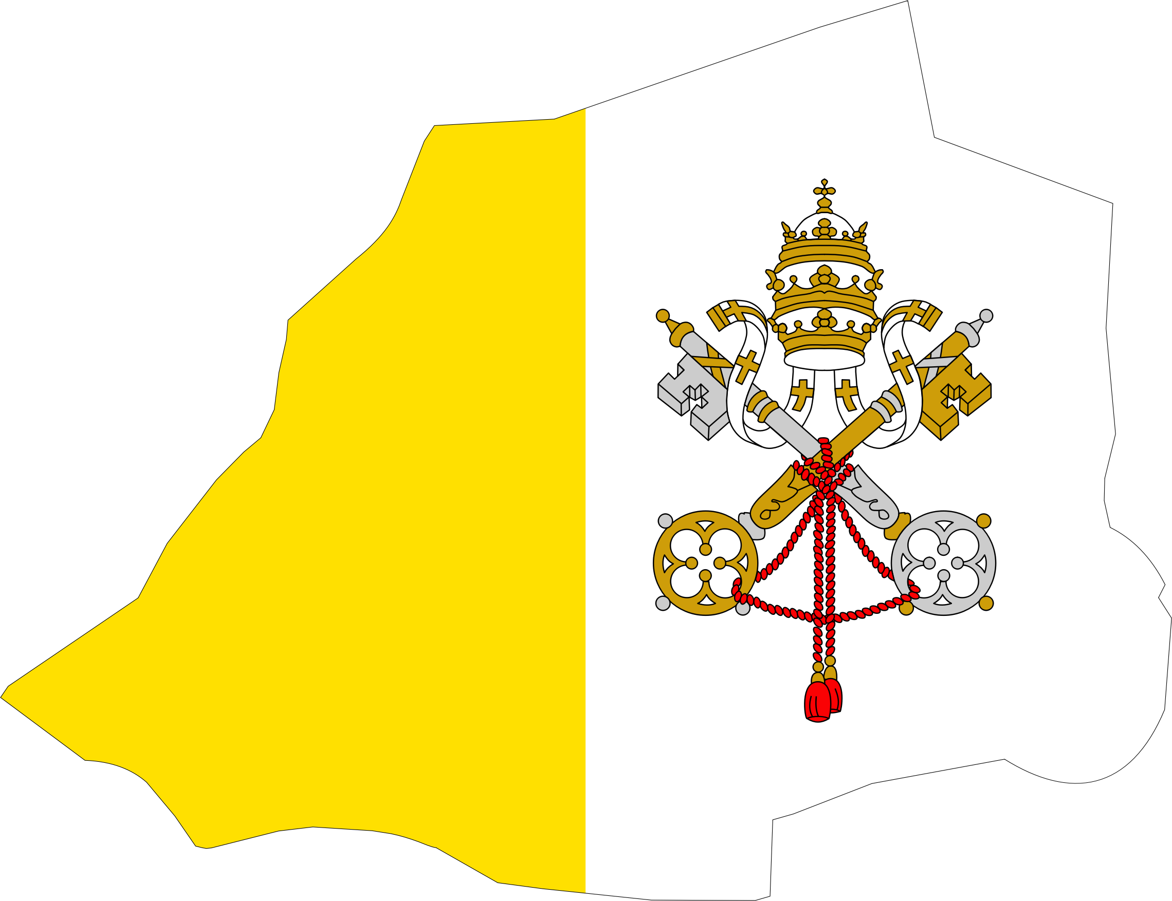 Clipart map flag big. Vatican City svg black and white stock