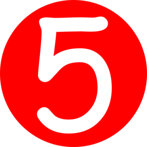 Vector 5 clipart. Red rounded with number