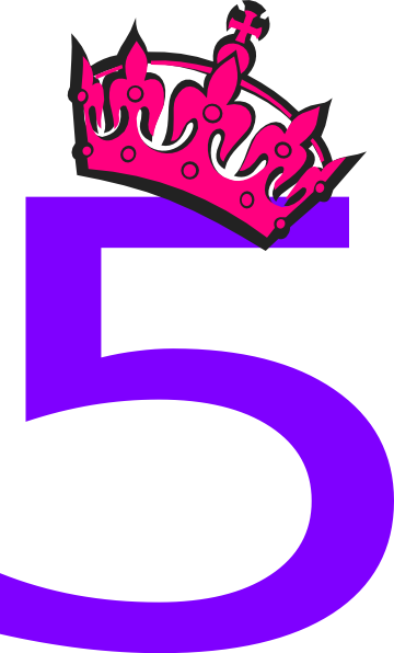 Vector 5 number. Pink tilted tiara and