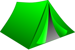 Vector 8 tent. Green pitched clip art