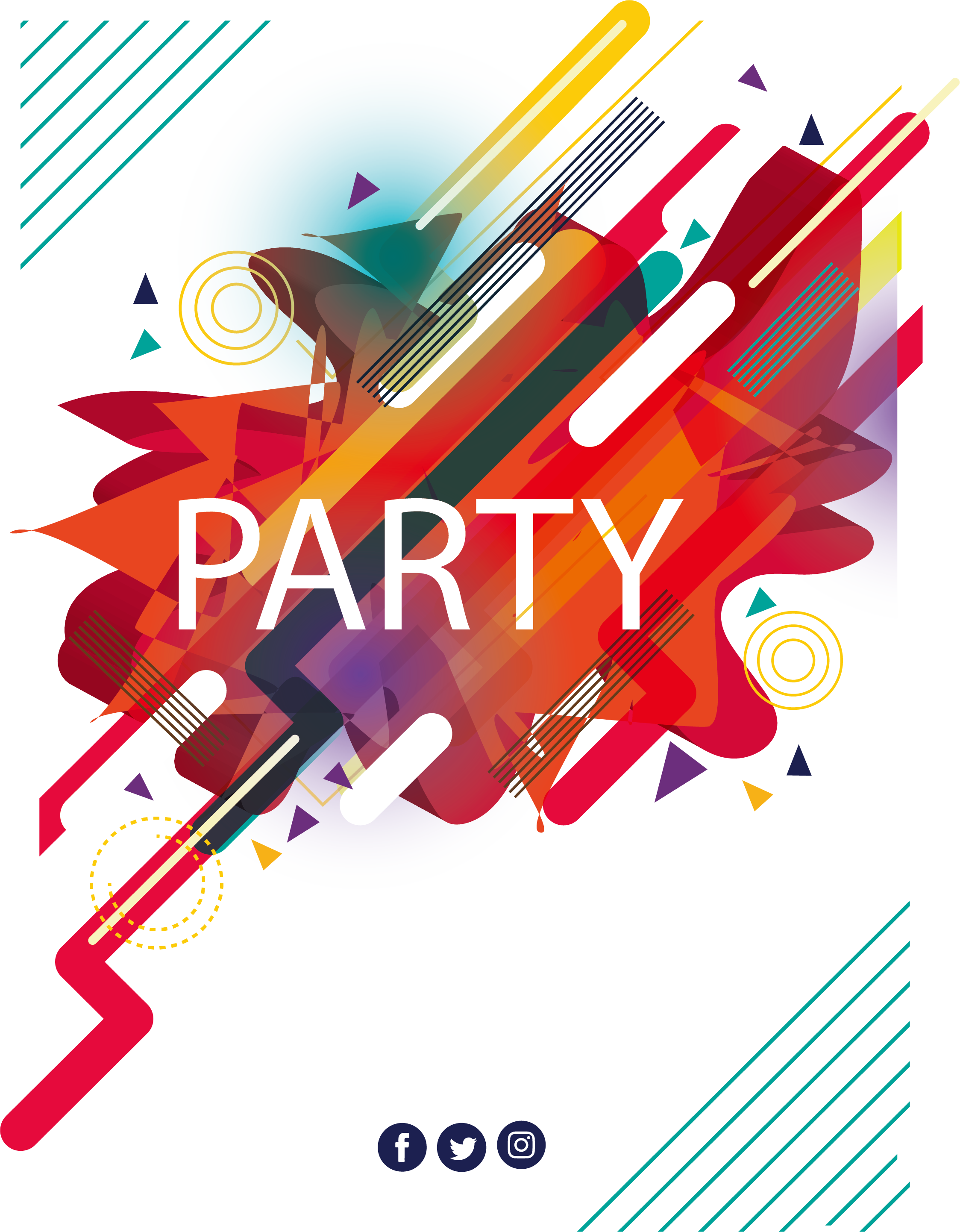 Vector abstracts party. Poster music festival abstract