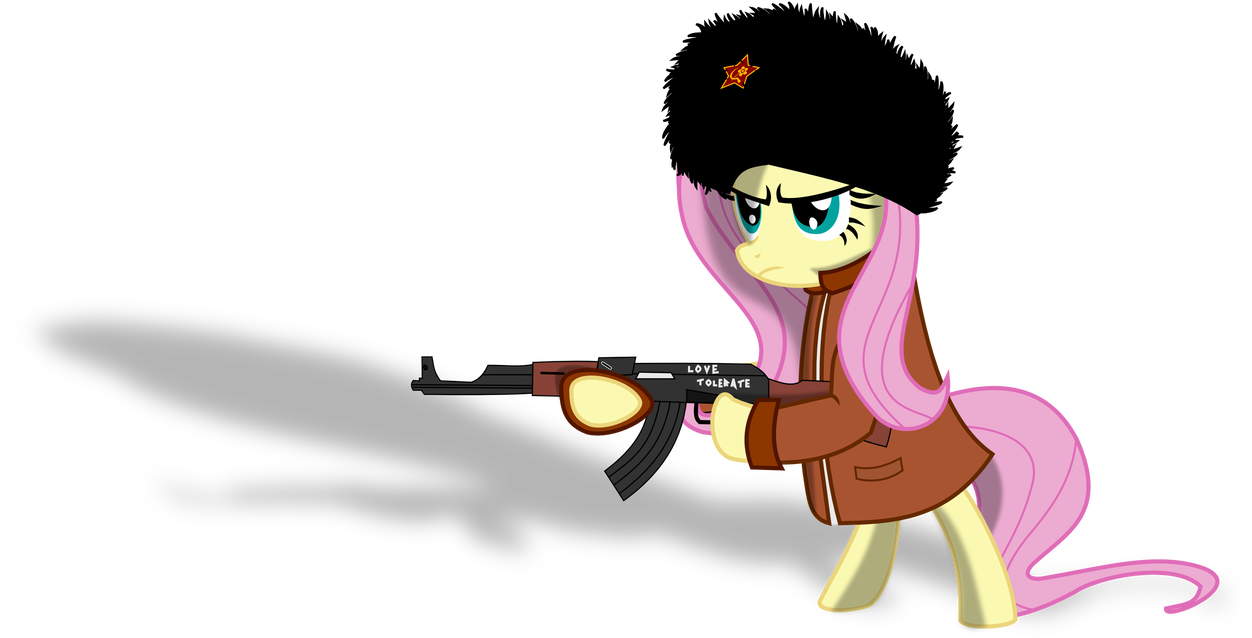 Vector ak47 animated. Fluttershy holding ak by