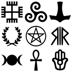 Vector alchemy wiccan symbol. Symbols used by contemporary