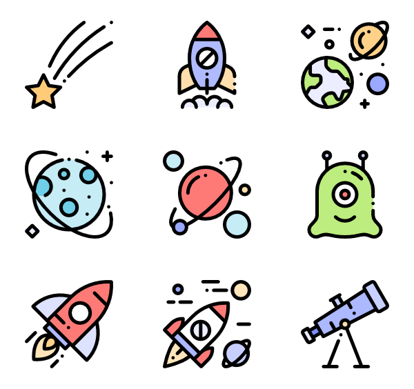 Alien icons free space. Vector ufo flat design banner free library