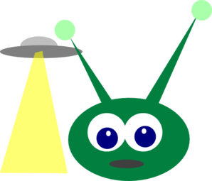 Vector ufo royalty free. Green alien with clip