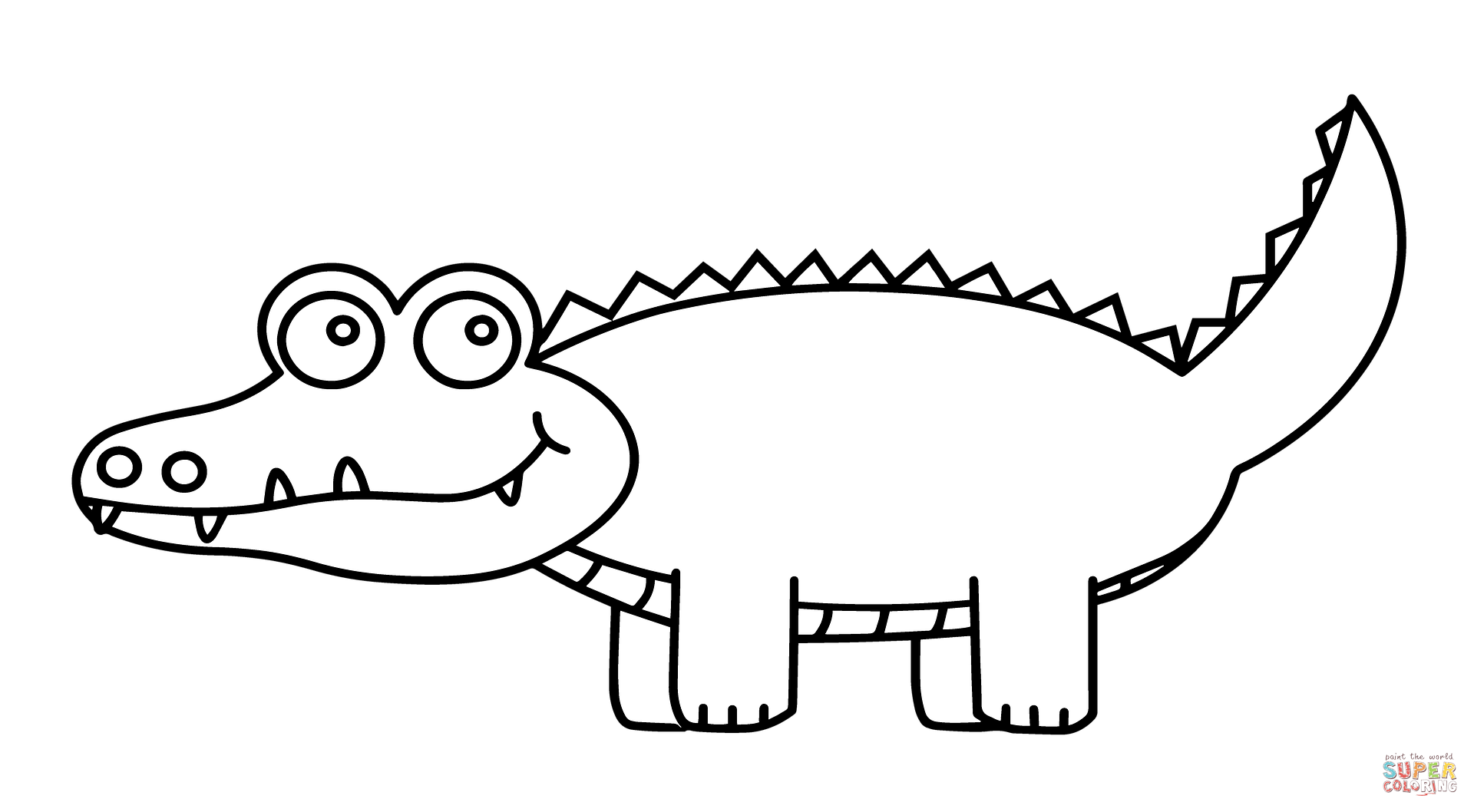 Cute cartoon coloring page. Vector alligator black and white graphic freeuse download