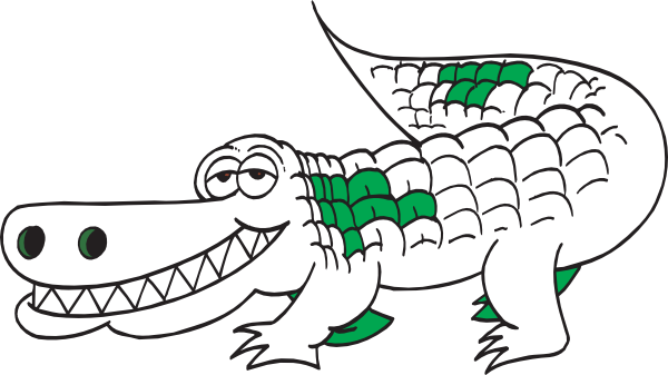 Vector alligator cartoon outline. White clip art at graphic black and white
