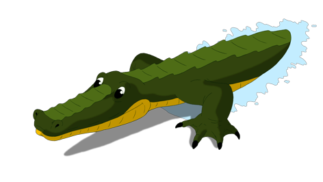Crocodile attacks front view. Vector alligator channel banner transparent