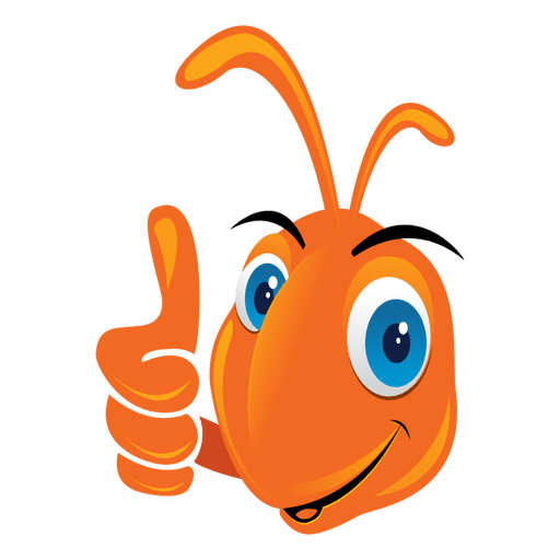 Vector ant icon. Funny thumbs up transparent