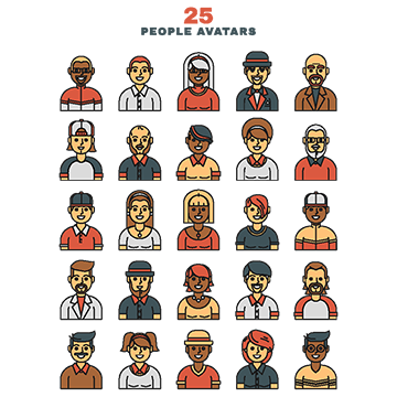 Vector avatars. Flat avatar png images