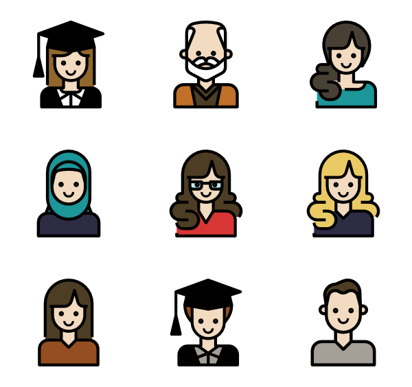 Vector avatars psd. Colored people icon