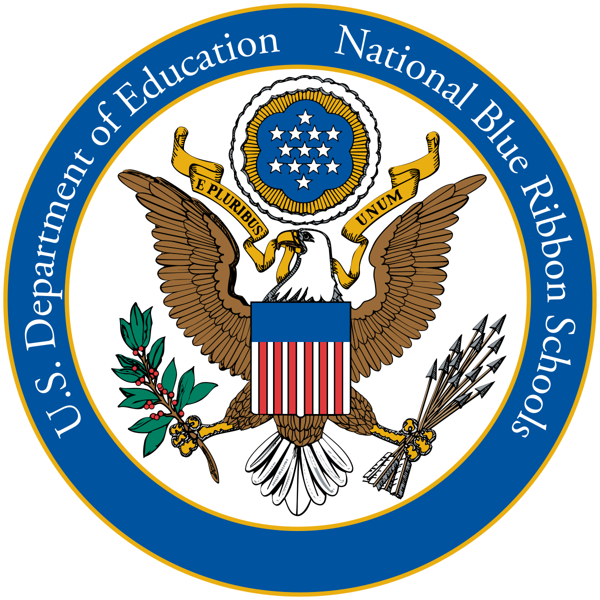 Vector award crest. National blue ribbon schools