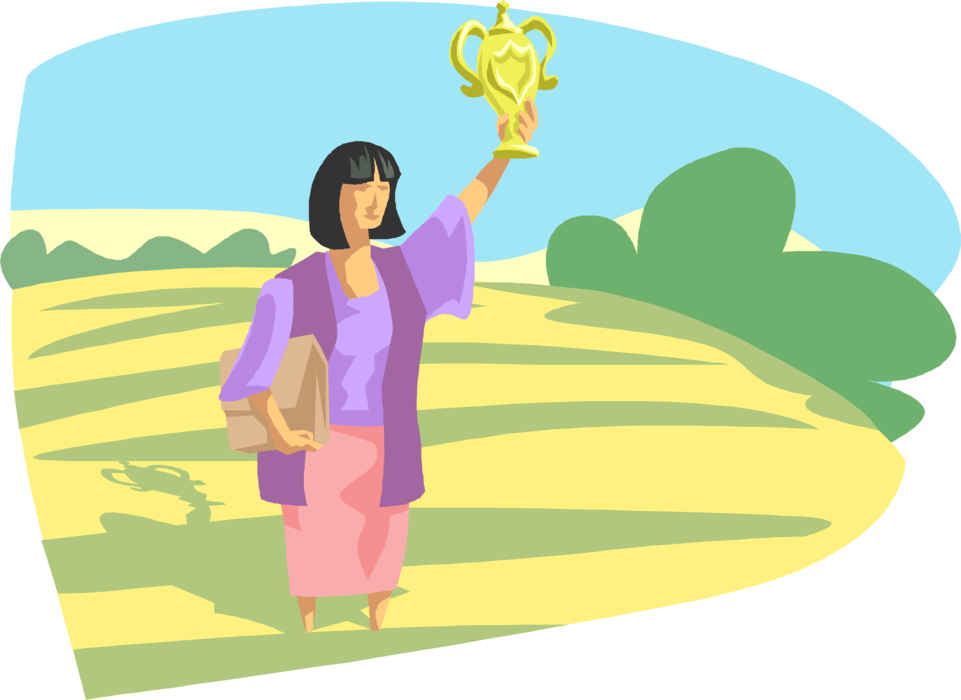 Vector award illustration. Woman with trophy image
