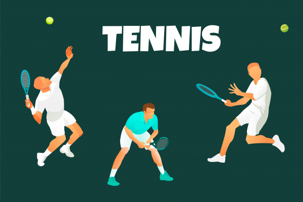 Vector background or illustration of male  lawn tennis players in action. Serving waiting