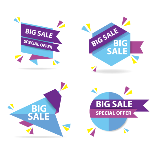 Vector banner design png. Colorful shopping sale template