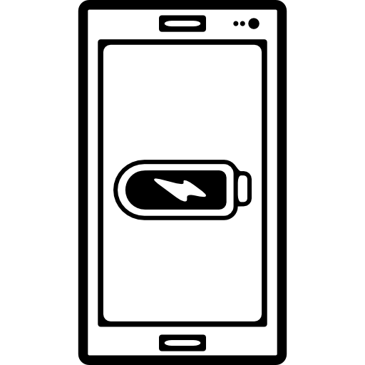 Vector battery smartphone user. Mobile phone outline with