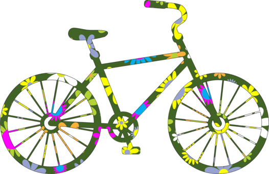 Vector bike flower. Electric bicycle mountain silhouette