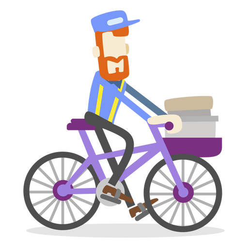 Vector bike delivery. Man riding transparent png