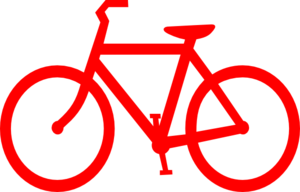 Vector bike outline. Red bicycle clip art