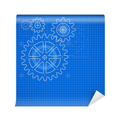 Vector blueprint background. Technical illustration on blue